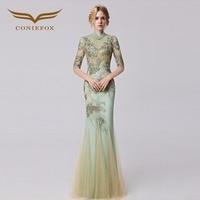 Coniefox 31283 Slim Appliques Mermaid prom dresses Embroidered de festa Long Evening Gown Dress robe de soiree 2016 autumn