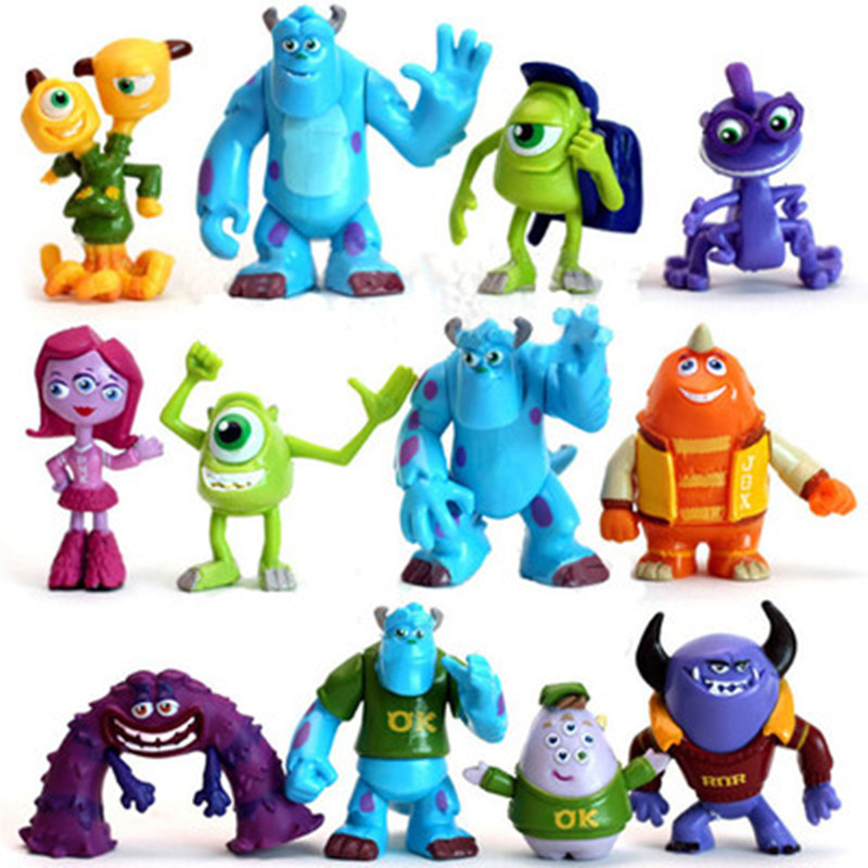 12pcs/set Monsters Inc Monsters University Mike Wazowski James P. Sullivan PVC Action Figure Collectible Model Toys Dolls Gifts romping monsters stomping monsters