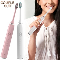 2pcs/set Professional Sonic Toothbrush, Smart 4 Modes IP67 Waterproof Wireless Rechargeable Tooth Brush For Lovers