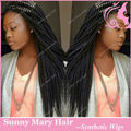 Wholesale Natural Black 1B Braiding Hair Synthetic Lace Front Wig Heat Resistant Braided Wigs For African American Black Woman