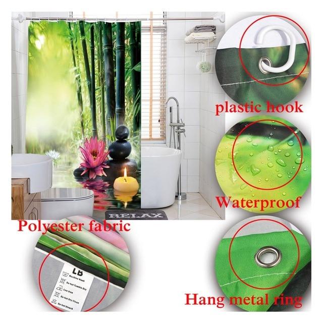 Acqua di Sorgente LB 72''Asian Zen Pietre Nere Tenda Della Doccia Verde di Bambù Tessuto di Poliestere Tende Da Bagno per Vasca Da Bagno Complementi Arredo Casa