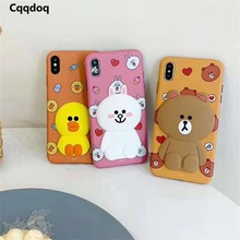 Cqqdoq 3D Duck Bear Rabbit Phone Case For iPhone 6 6S 7 8 Plus Cute Animal Protective Cases X XR XS MAX Coque