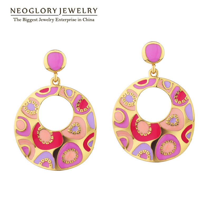 Neoglory Light Yellow Gold Color Enamel Paint Big Drop Dangle