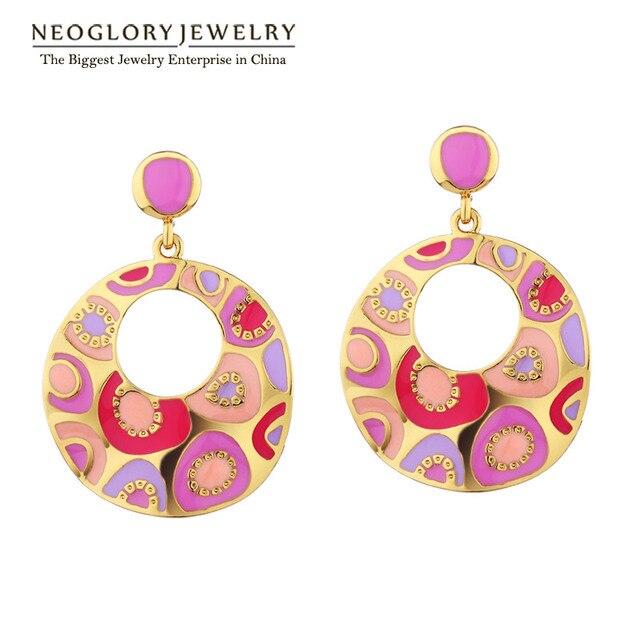 Neoglory Light Yellow Gold Color Enamel Paint Big Drop Dangle