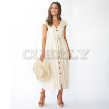 Cuerly Elegant Buttons Solid Women Long Dress Sashes High Waist Summer Casual V-neck Female Midi Vestidos L8
