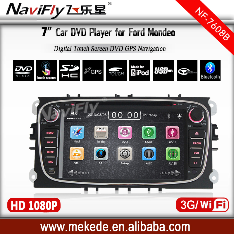 free shipping 7 Inch Car DVD Player For FORD/Mondeo/S-MAX/Connect/FOCUS 2 2008-2011 With Radio GPS Navigation BT 1080P Ipod