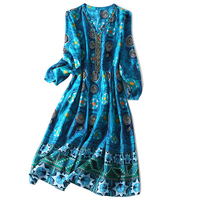 Luxury 100 Real Silk Woman Dress Indie Folk Style V Neck Woman Knee Length A Line