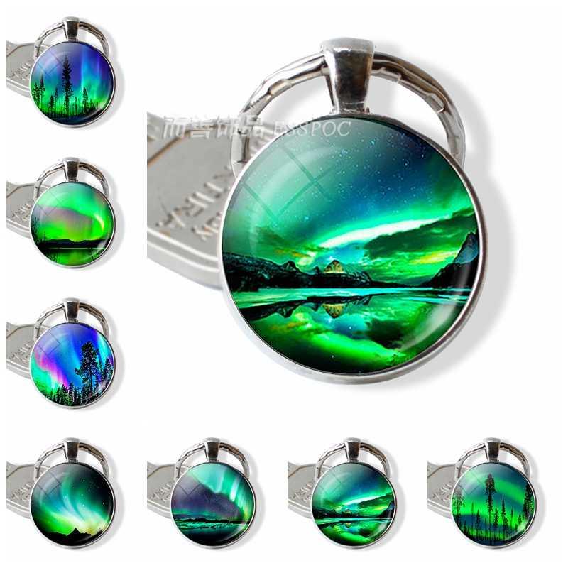 Fashion Cool Green Natural Northern Lights Photo Keychain Round Glass  Cabochon Dome Handmade Jewelry Key Chain 9ed3f8c8992b
