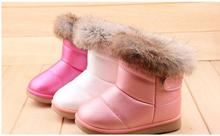 2016 Winter Fashion child girls snow boots shoes warm plush soft bottom baby comfy kids Rabbit fur pu winter snow boot for baby