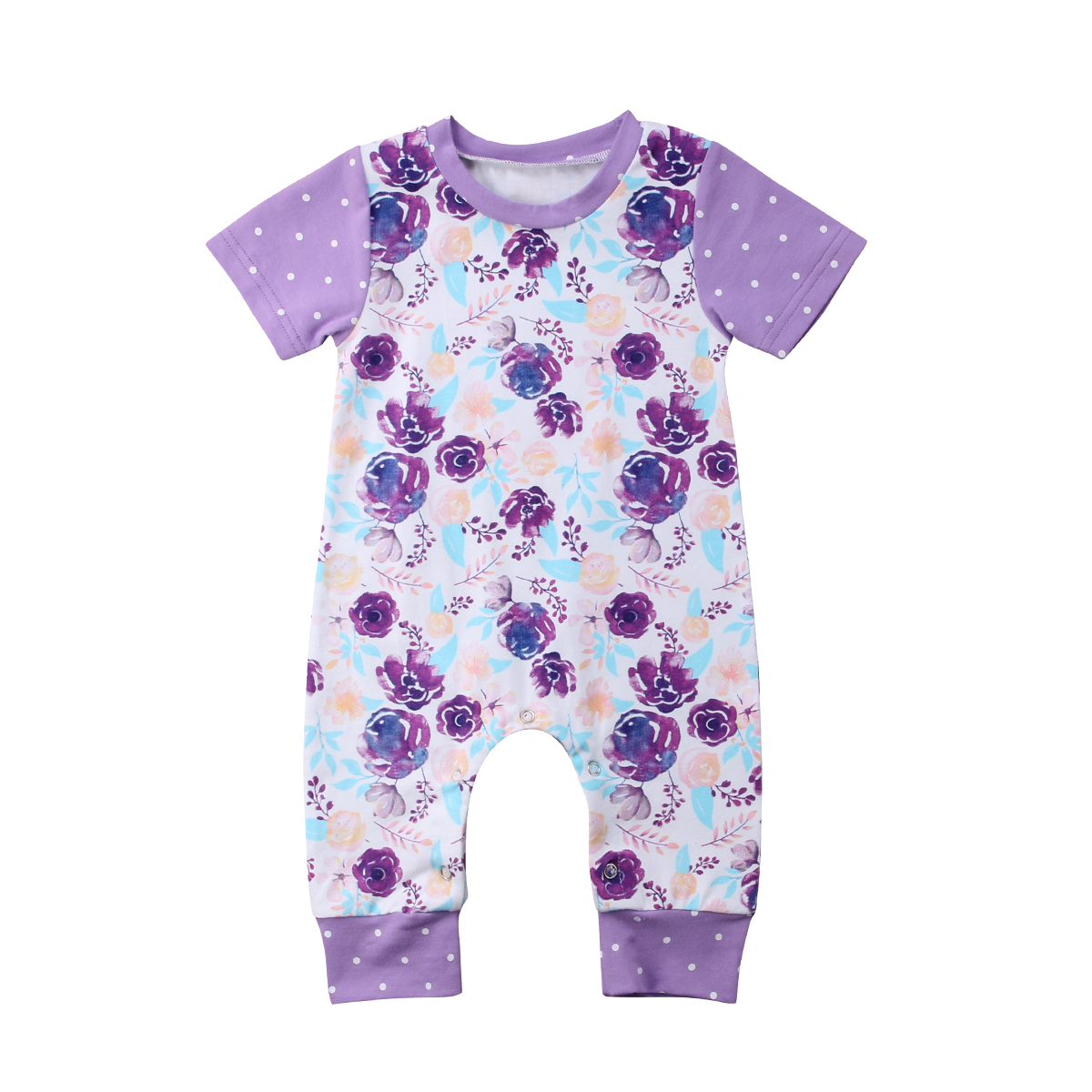New Arrival Newborn Infant Baby Boy Girl Short Sleeve Floral Jumpsuit Romper 2018 Summer New Children Outfit Sunsuit