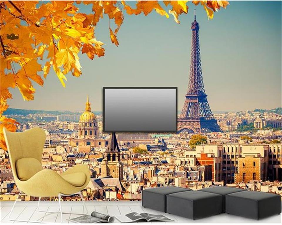 US $14.99 50% di SCONTO|3d photo wallpaper personalizzato soggiorno murale  Parigi Torre Eiffel paesaggio pittura TV sfondo tessuto non tessuto di ...