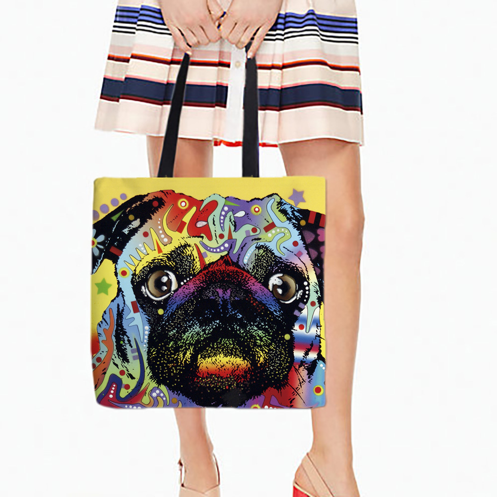 Perros coloridos Impreso Shopping Tote Bag Canvans For Food Convenience Women Shoulder Hand bags Beautiful Art Animal