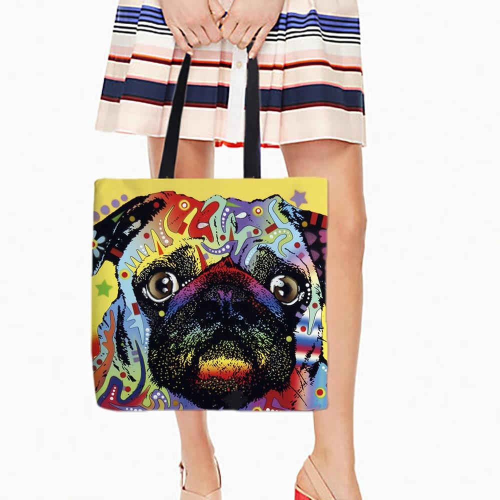 Los Perros de colores Impreso Compras Bolsa Canvans Para Comida Comodidad Hombro