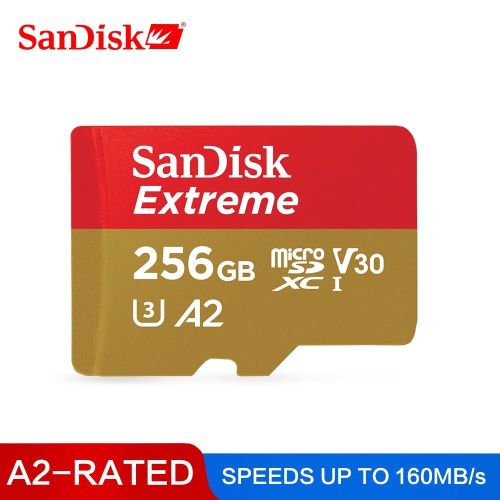 SanDisk Extreme Cartão De Memória de 256GB TF Cartão MicroSD Cartão de Memória Flash de 128GB SDXC GB UHS-I 64 U3 Class10 V30 a2 Para 4K Vídeo UHD 160 MB/s