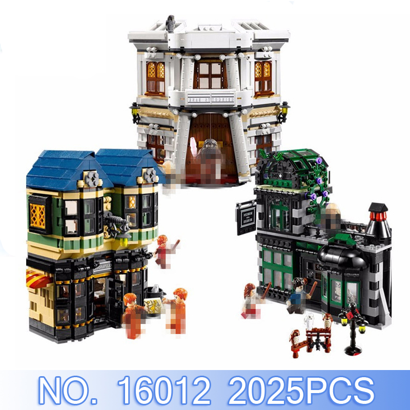 Lepin Movie Figure Harry 16012 Pottered Legoed 2025Pcs Diagon Alley Building Blocks Bricks Set Toys Model Kits Compatible 10217 lepin 16012 diagon alley building bricks blocks toys for children boys game model car gift compatible with bela decool 10217
