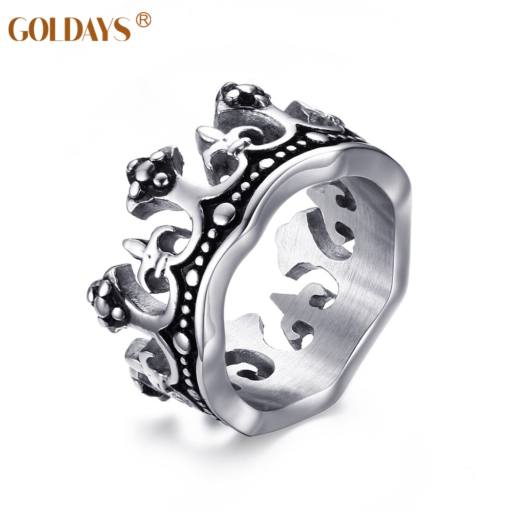 Uniquely Cool Men Cown Rings Stainless Steel Wedding Rings For Men Jewelry  With 12mm High Polished Size 8#12#