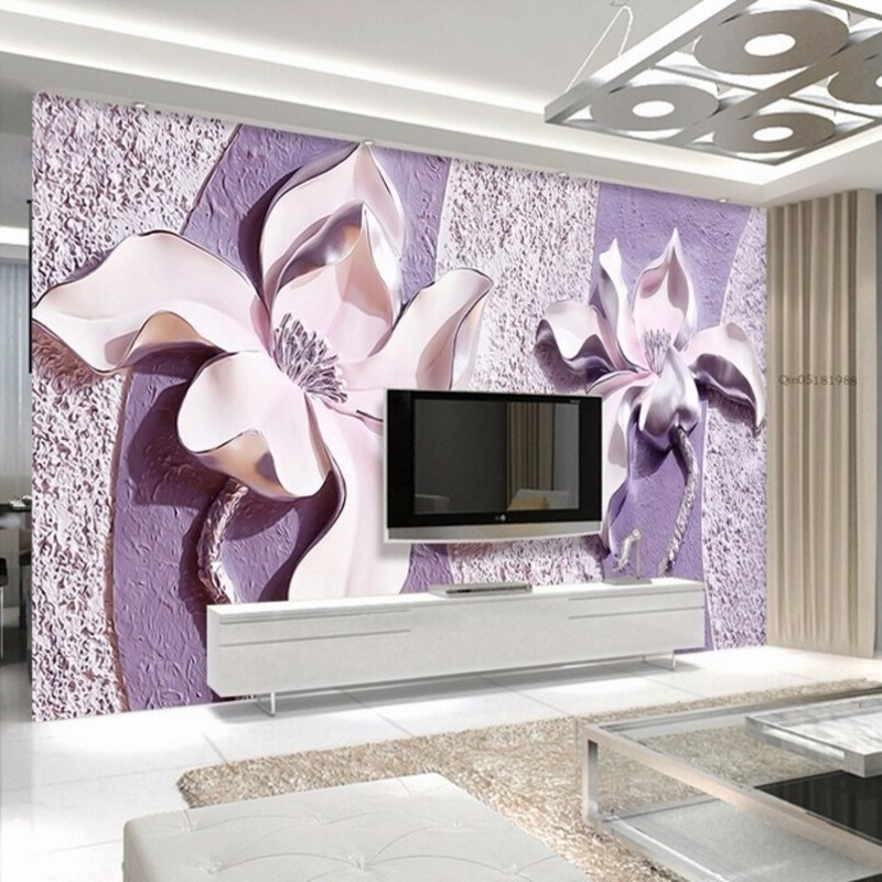 3d purple tv living background wall bedroom magnolia decor papel mural murals wholesale relief parede customize any orchid jade paper
