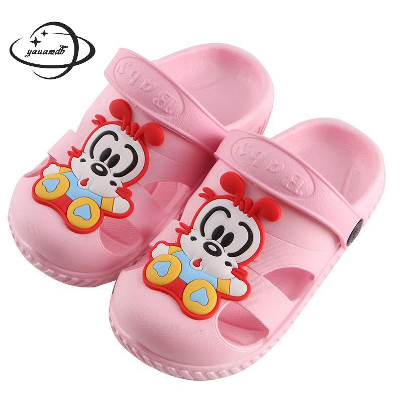 8eb9ebd0fbfa06 YAUAMDB kids mules   clogs 2018 summer PVC boys girls flat with sandals  cartoon car breathable ...