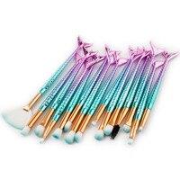 Best Deal New 15PCS Mermaid Professional Makeup Brushes Set Make Up Brush Tools Kit Eye Liner