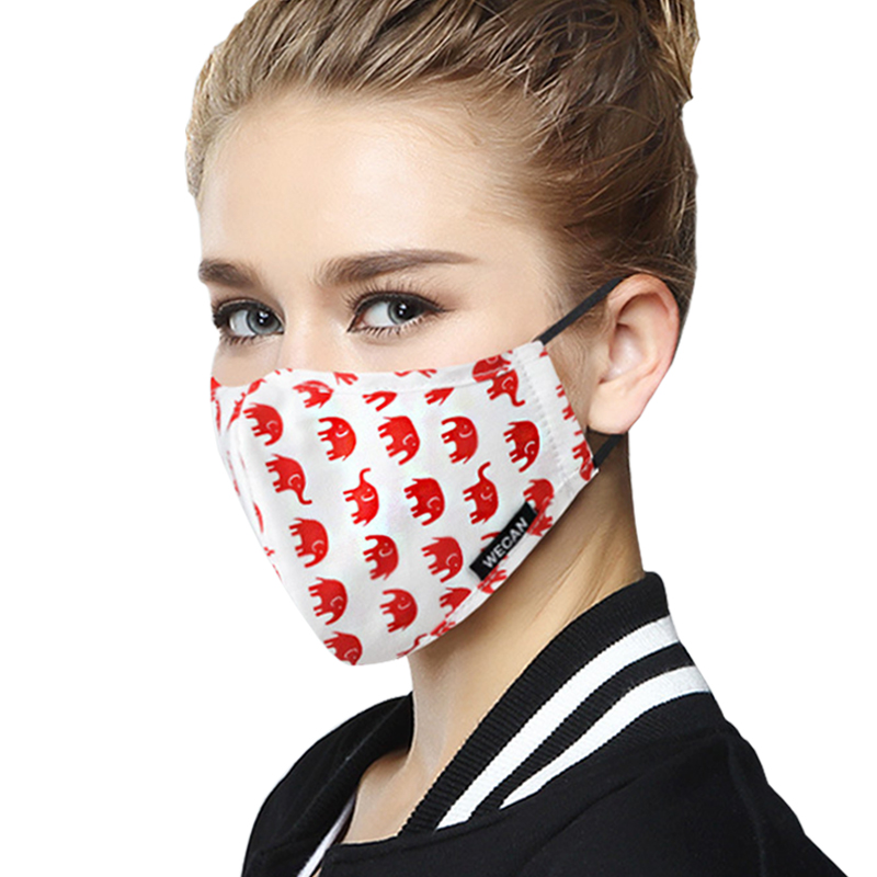 Women Cotton Black Fabric Mouth Mask For Winter Running Korean Anti Dust PM2.5 With Carbon Filters KN95 Cloth Fabric Face Mask