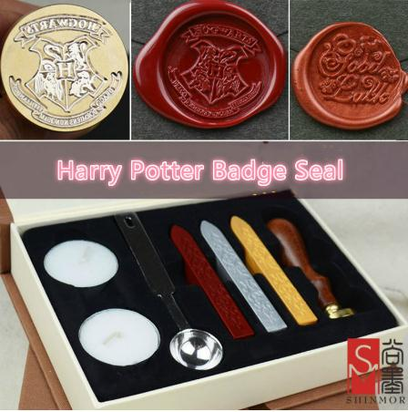 1 set Retro Harry Potter College Badge Sealing Wax Stamp Gift Box For Envelopment Invitation Letter Seal Wedding Post Decor monkey foil balloon auto seal reuse party wedding decor inflatable gift for children