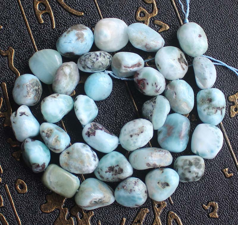 8-12mm Natural Larimar Freeform Loose Beads 15inch per strand Wholesale For DIY Jewellery Free Shipping !