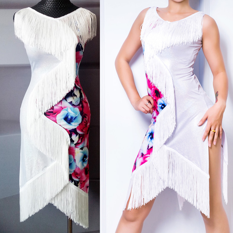Latin Dance Dress Sleeveless White Tassel Print Salsa Dresses For Women Competition Flamengo Samba Dancing Clothes Woman DN2138