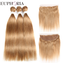 Brazilian Remy Lace Frontal With Human Hair Weaves Bundles EUPHORIA Blonde Red Color Straight Hair Weft Extensions With Closure
