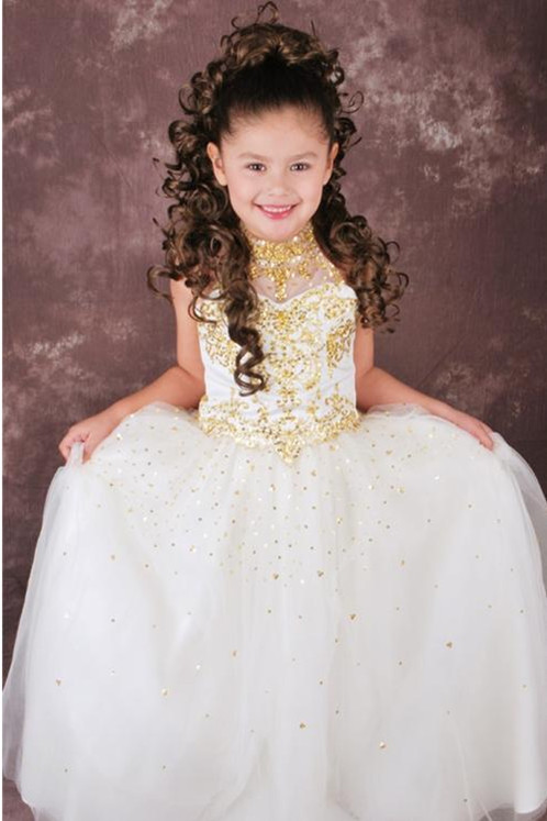 2019 Princess High Neck Halter Ankle-length Satin and Tulle Gold Beaded White   Flower     Girl     Dresses   Free Shipping HU1050