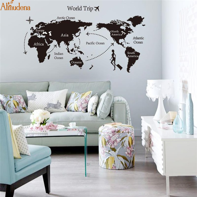 ALMUDENA World Trip Global Fly Map Wall Stickers Office Study Room Decor DIY Adesivo De Paredes Home Decals Mual Art Poster & ?ALMUDENA World Trip Global Fly Map Wall Stickers Office Study Room ...