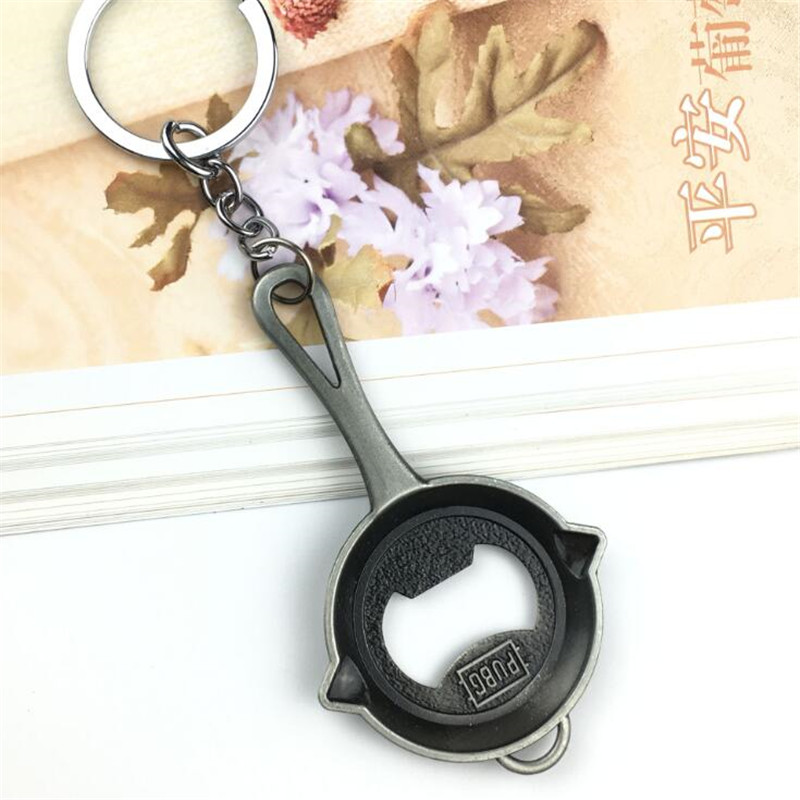Hot New Game PUBG Key Chain Beer Opener Cosplay Badge Metal Silver Frying Pan Personality Funny Fancy Christmas Gift