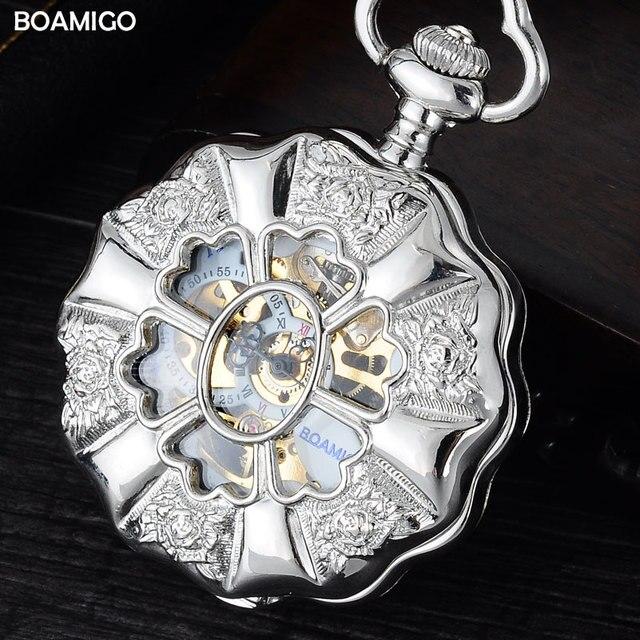 FOB мужчины карманные часы класса люкс механические часы BOAMIGO марка скелет роман количество часы цветок случае подарок часы reloj hombre