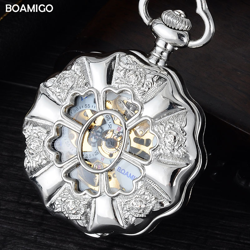FOB men pocket watches luxury mechanical watches BOAMIGO brand skeleton roman number watches flower case gift clock reloj hombre men mechanical pocket watch roman classic fob watches flower design retro vintage gold ipg plating copper brass case snake chain