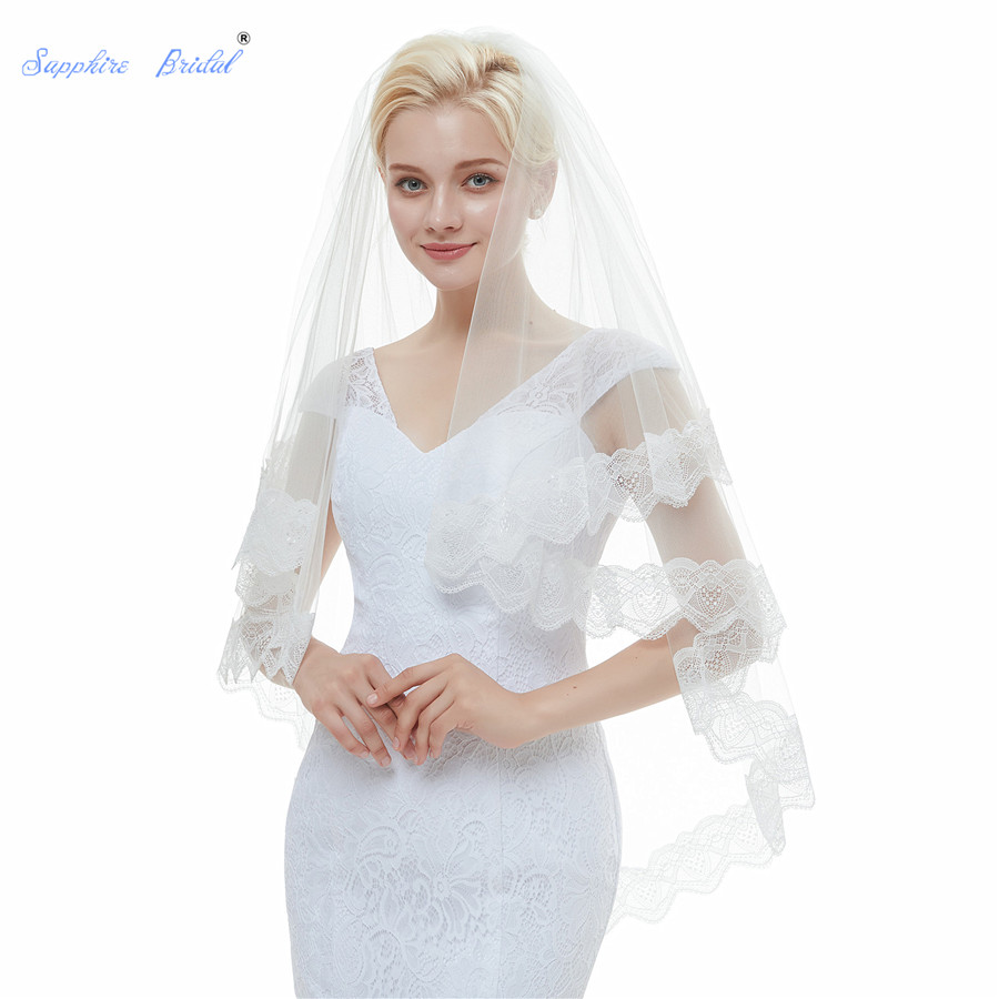 Sapphire Bridal Top Quality 100% Real Photo In Stock Lace Edge Ivory Tulle 2 Tiers Short Wedding Veil with Comb