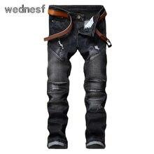 #1959 Мужчины джинсы 2017 Эластичный Мода Мото джинсы Slim fit Мужские черные джинсы Плиссированные Хип hop джинсы Поддельные дизайнер одежда