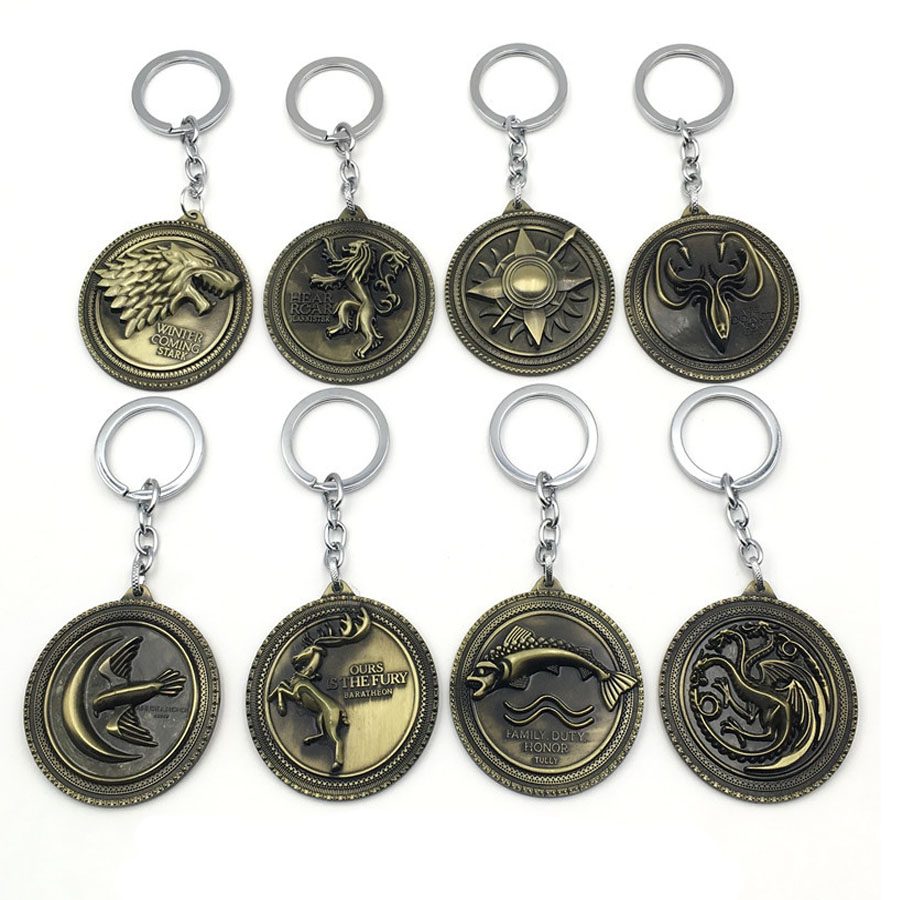 2017 New Game of Thrones A song of ice and fire Logo badge House Stark Lannister Tully Targaryen Jon Snow targaryen keychains