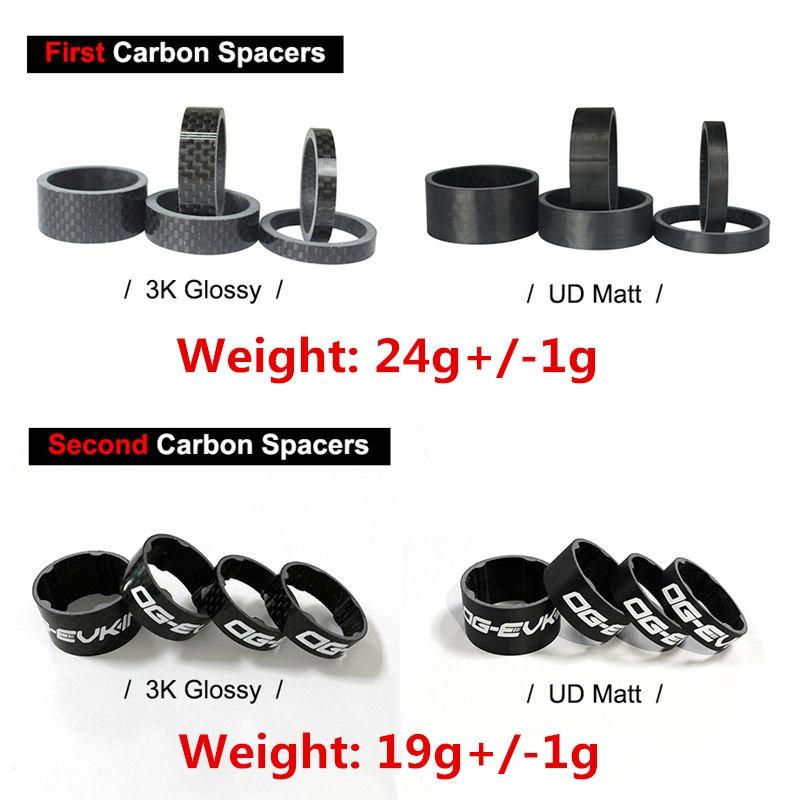 New 18 4PCS Full Carbon headset spacer Bicycle headset ring Stem Spacers UD 3K Fix Refit 5 Shape Bike rings OG-EVKIN 4