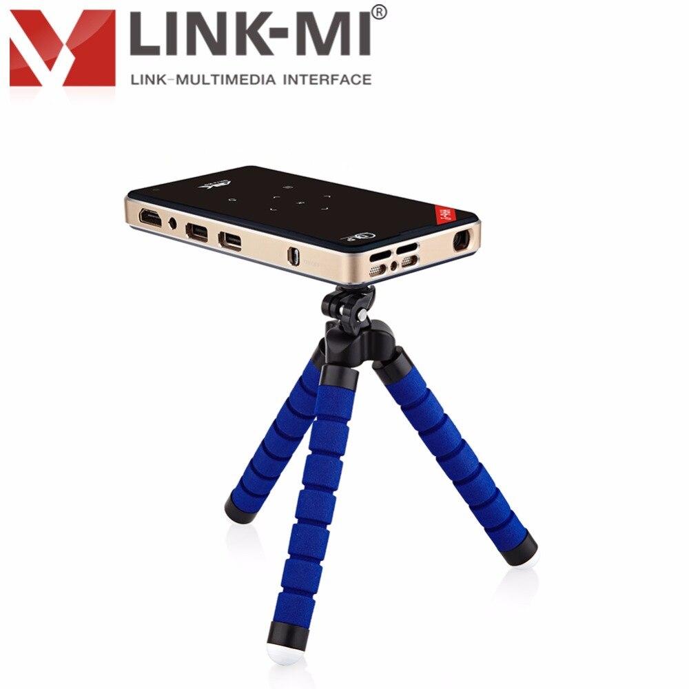 LINK-MI 4K2K Full HD DLP Smart Android Wireless Mini HDMI USB 3D Multimedia Video 2G16G Bluetooth Projector 5Gwifi yt v3d p 3d dlp projector hd video hdmi converter black
