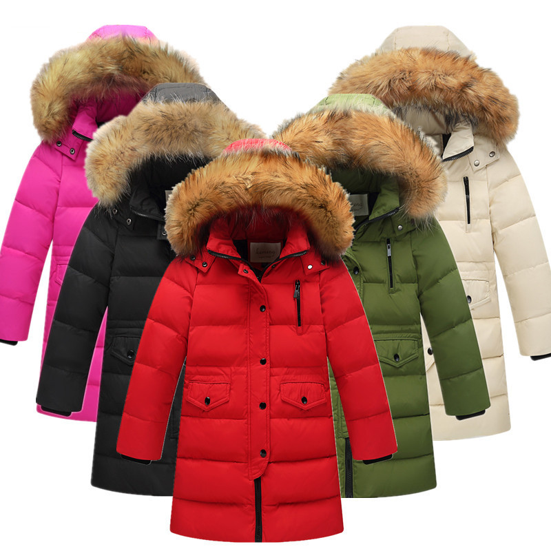 Russia Winter Children Fur Collar Down Jackets Kids Thickening Warm Zipped Hooded Parkas Coats Boys Girls Outerwear Clj017 buenos ninos thick winter children jackets girls boys coats hooded raccoon fur collar kids outerwear duck down padded snowsuit