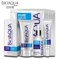 6 pcs Bioaqua Cuidados Faciais Acne Definir Acne Tratamento Facial Profunda limpador Facial De Controle de Óleo Cicatriz Remoção Creme de Dia de Limpeza Conjunto Máscara