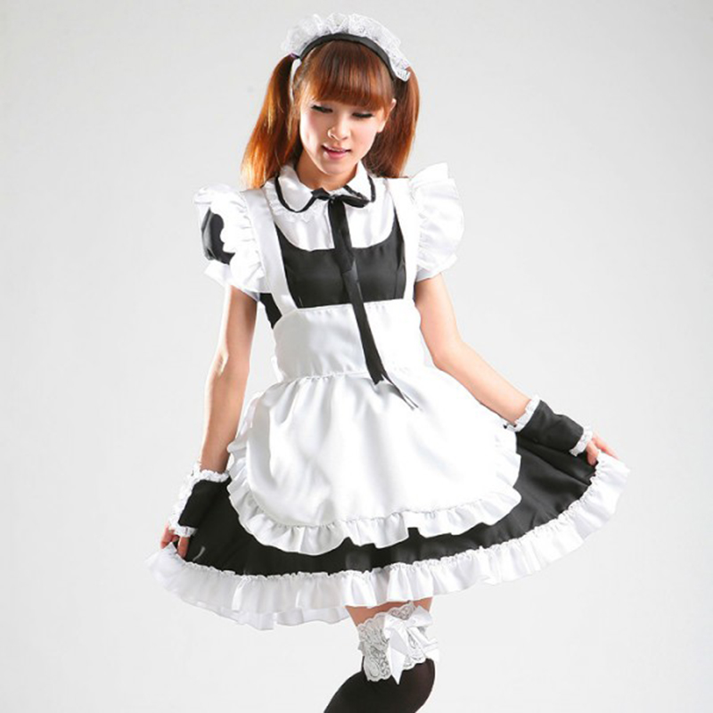 high quality Sweet Lolita Gothic maid costume club Restaurant uniform Anime Cosplay clothing Plus Size Maid Costume Halloween