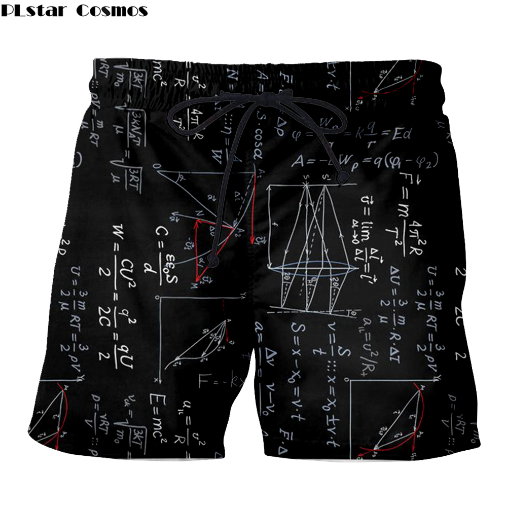 Einstein Men Funny Math Board Shorts Viking Tattoo 3D Print Summer Casual Jogger Casual Quick-Drying Beach Knee Length Pants