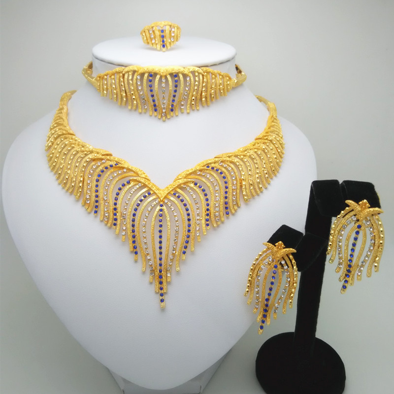 New Ethiopian Big Wedding Bride Jewelry Sets 24k Gold Color