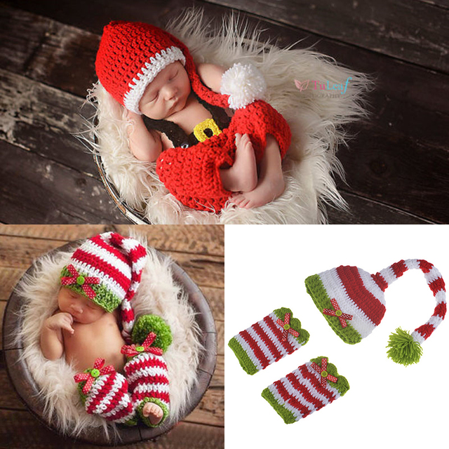 2017 Christmas Baby Photography Props Cute Crochet Knit Costume Prop Outfits  Newborn Baby Christmas Outfits Baby - 2017 Christmas Baby Photography Props Cute Crochet Knit Costume Prop