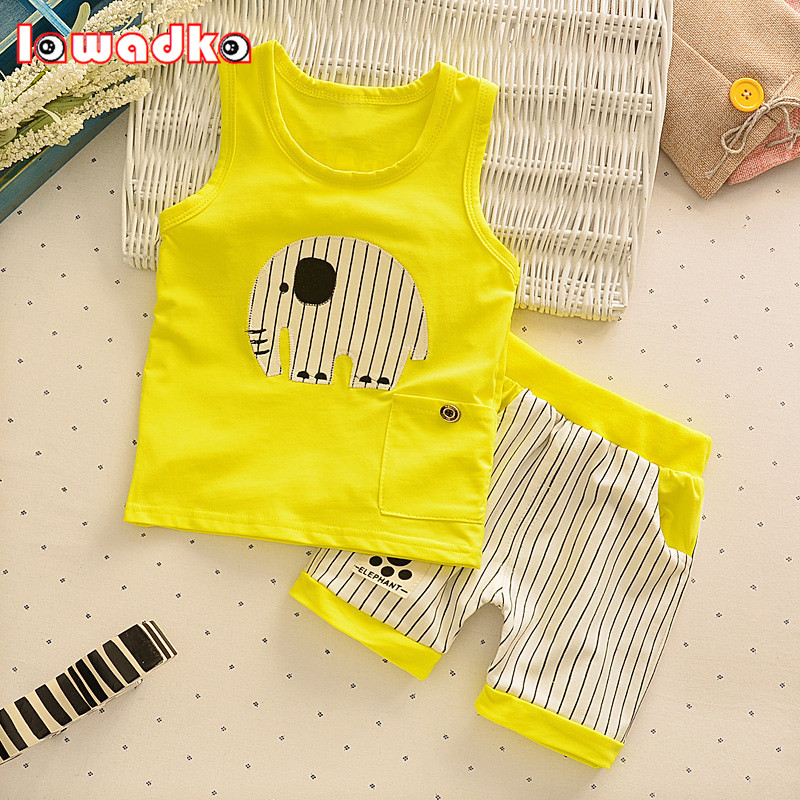 Baby Boys Girls Clothing Set Children Vest + Pants Set Kids Cartoon Clothes Casual Suits 3 Design 2016 Summer