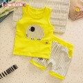 Bebê Meninos Meninas Roupas Set Crianças Colete + Calça Definir Miúdos Dos Desenhos Animados Roupas Casuais Ternos 3 Projeto Verão 2016