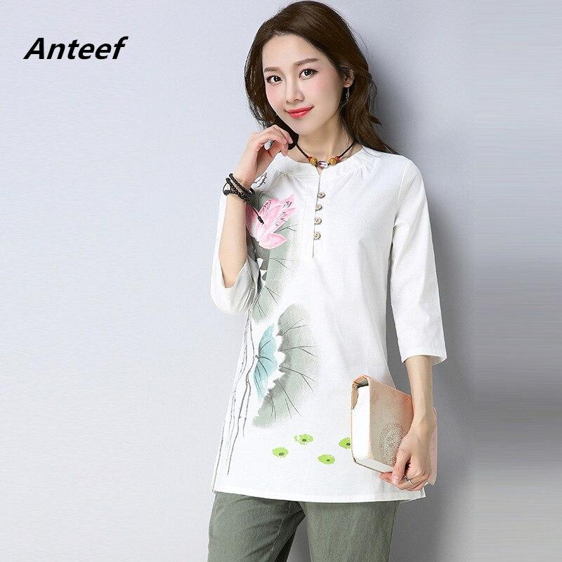75accf778c cotton linen spring summer vintage clothes plus size casual loose tee t  shirt women t-