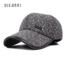 Difanni 2017 New Winter Baseball Cap with Ear Flaps Men's Retro Winter Dad Hats Bone Snapback Caps
