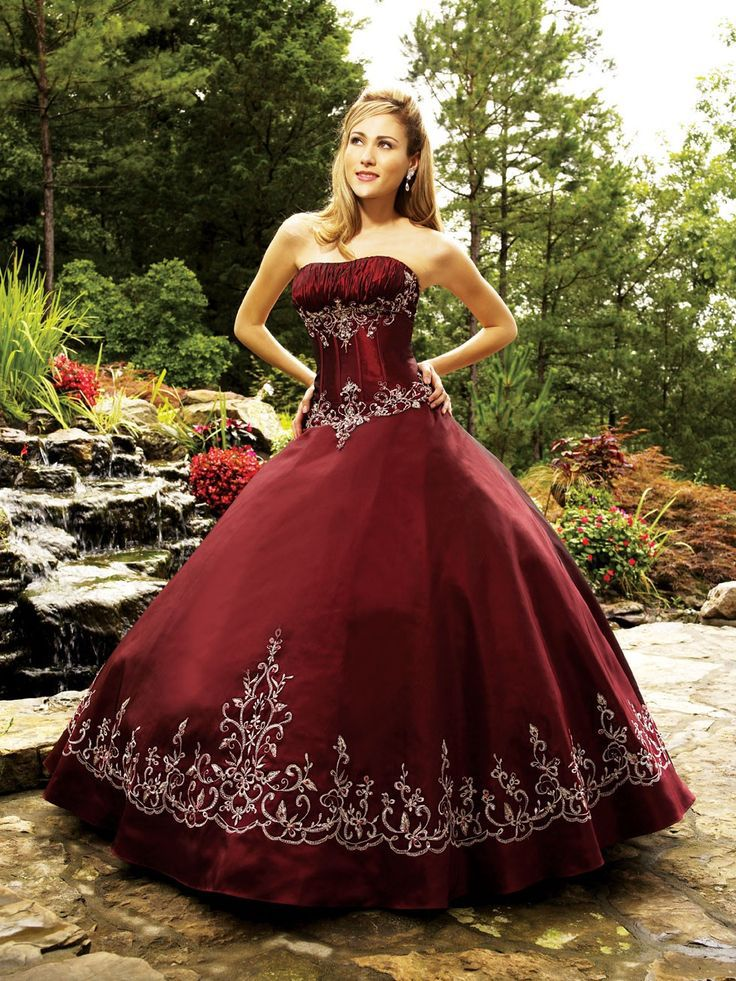 Dark Red Gothic Quinceanera Dresses 2015 Strapless Vintage Embroidery Ball Gowns Custom Made In From Weddings Events On Aliexpress