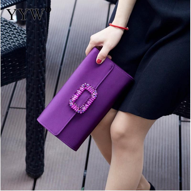 Purple Handbag Women Rhinestone Pochette Femme Clutch Bags For Women 2019 Flap Mini Evening Party Bags Purse Clutches With Chain